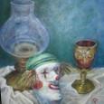 ランプとマスクとワイングラス